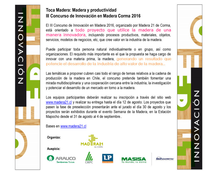 III Concurso Innovación en Madera Corma 2016, Madera21