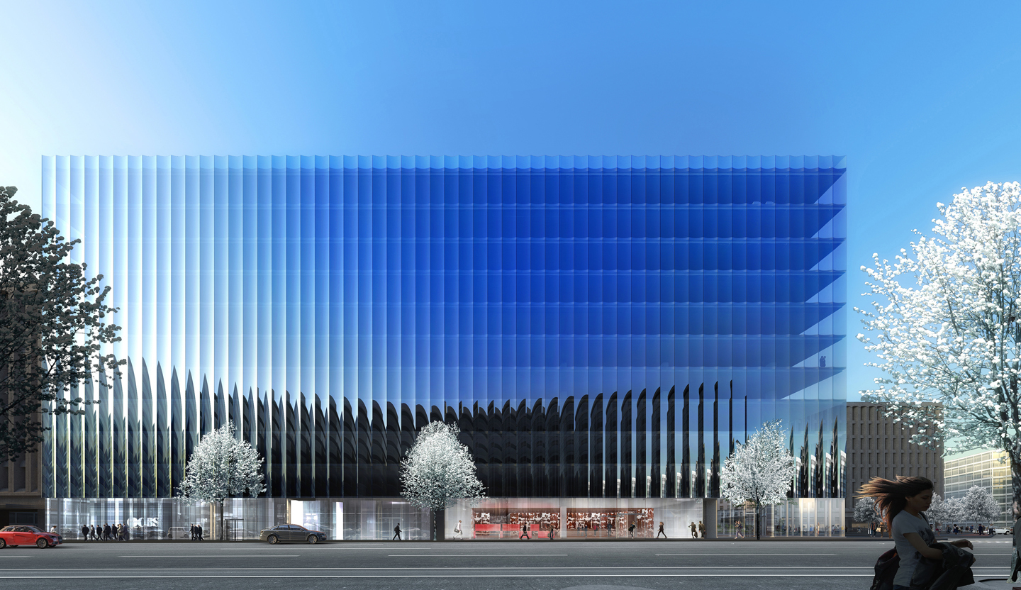 rex designs a concave and crystalline office building for washington