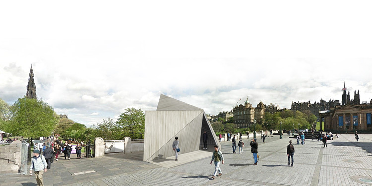 Konishi Gaffney Architects Unveils Their Winning Pavilion for the Pop-Up Cities Expo in Edinburgh, Exterior Perspective Views. Image Courtesy of Konishi Gaffney Architects