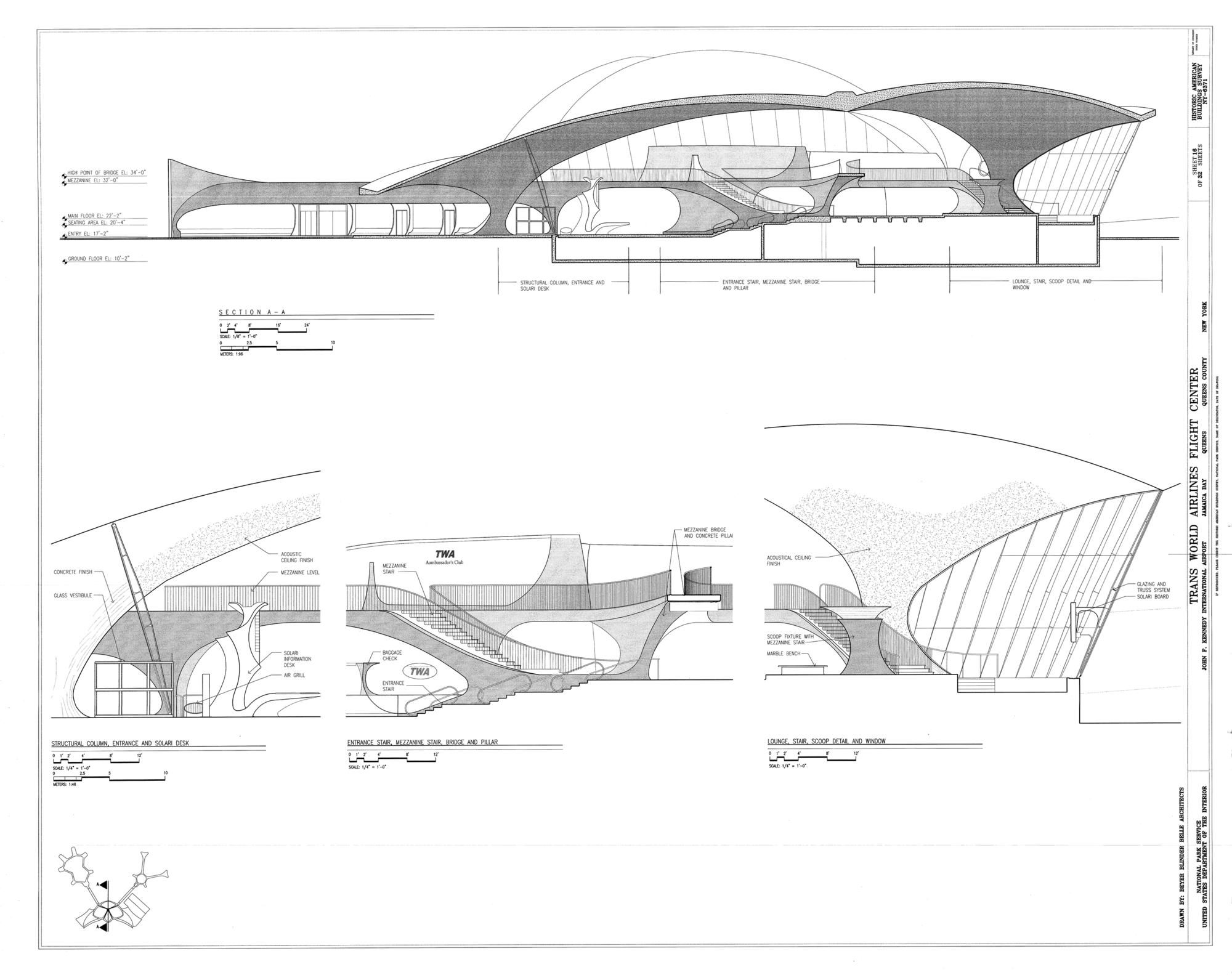 Gallery of ad classics twa flight center eero saarinen 6 for Construction drawings and details for interiors