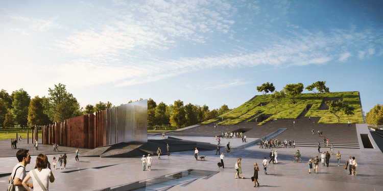Napur Architect Designs a Bowed Building for the Ethnography Museum in Budapest, Courtesy of Napur Architect