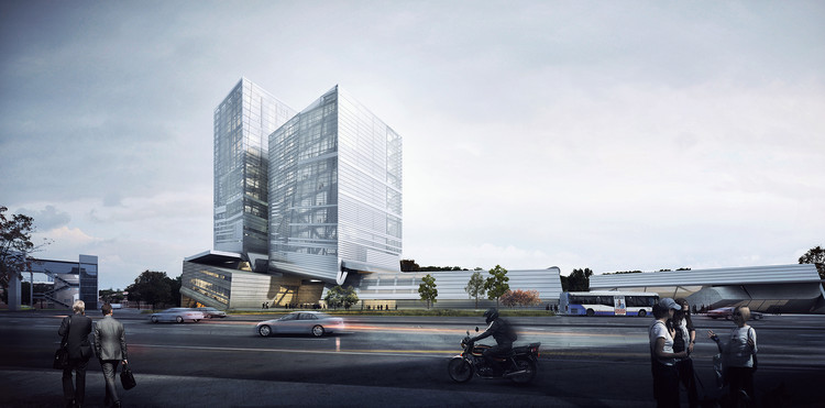 "Competition Proposal by Preliminary Research Office Thinks ""Outside the Box"", Exterior Rendered View. Image Courtesy of Preliminary Research Office"