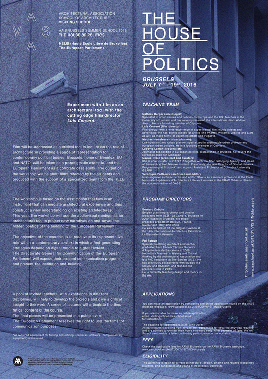 The House of Politics - AA Visiting School Brussels, The House of Politics Poster