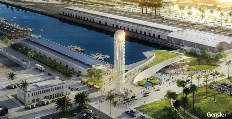 Gensler Unveils Design for AltaSea Campus at the Los Angeles Port, ALTASEA campus aerial view. Image Courtesy of Gensler