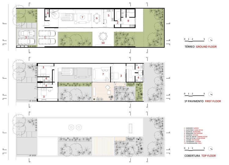 Jardins house cr2 arquitetura archdaily for Jardins mangueiral planta 3 quartos