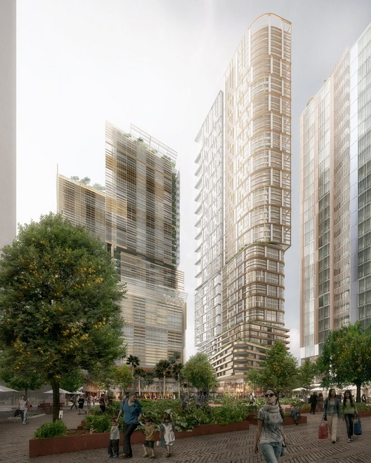 PTW Reveal Trio of Towers for Parramatta, Australia, New plaza view (60 and 25-storey towers by PTW Architects, 35-storey by Collins and Turner). Image Courtesy of PTW Architects