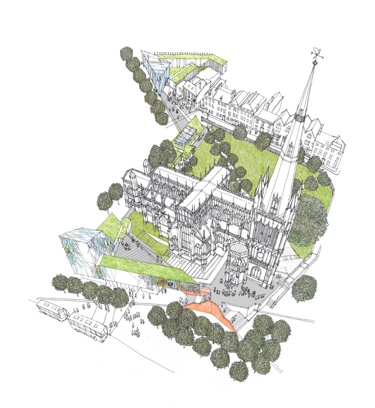 Purcell Wins Competition to Revitalize St Mary Redcliffe, Aerial View of the Church Precinct. Image© Richard Carman