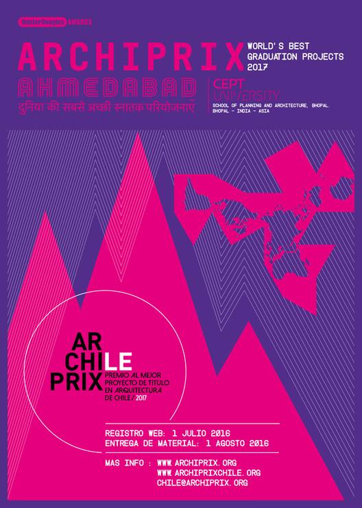 Convocatoria: Archiprix Chile 2017, afiche Archiprix chile / Archiprix internacional