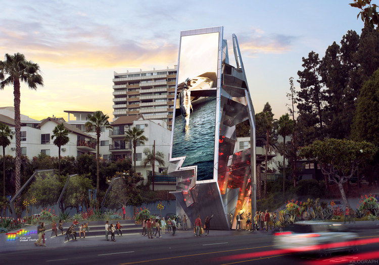 Sunset Strip Billboard Competition Finalists Include Zaha Hadid and Gensler , Orange Barrel Media with Tom Wiscombe Architecture and MoCA – West Hollywood Belltower. Image Courtesy of City of West Hollywood