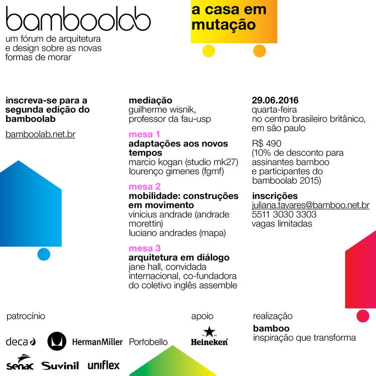 bamboolab - a casa em mutação: um fórum de arquitetura e design sobre as novas formas de morar, programação bamboolab 2016