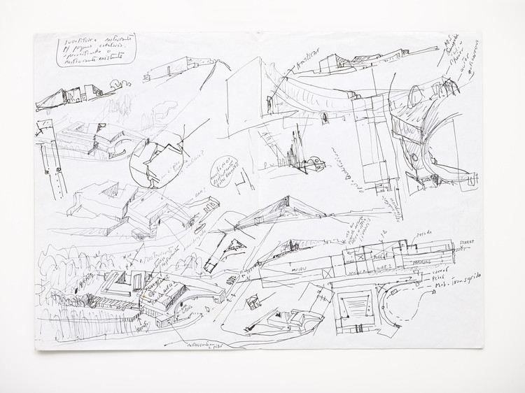 "Serralves Museum of Contemporary Art Presents ""Raw Material: A View of the Archive of Álvaro Siza"", Álvaro Siza,  Serralves Museum, Porto, 1991-1999. First sketches for the projetc, [1991]  29,7 x 42,0 cm. [ASV/FS 25]"