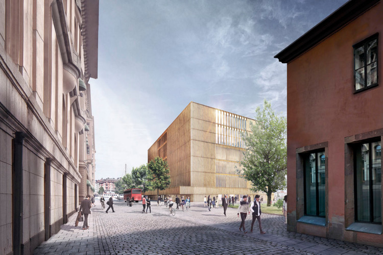 King of Sweden Publicly Expresses Concern Over Chipperfield's Nobel Center Plans for Stockholm, Revised Design (view from the street). Image © David Chipperfield Architects