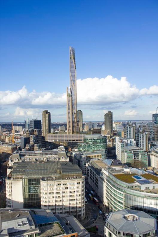 Torres de madeira poderão transformar o skyline de Londres, Torre em madeira Barbican. Imagem Cortesia de PLP