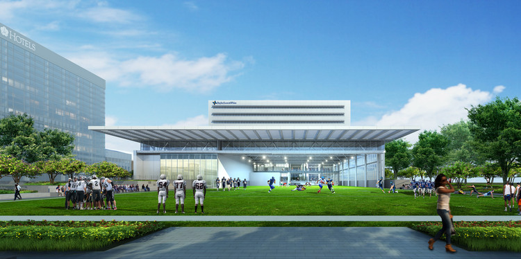 Perkins+Will Design New Sports Therapy and Research Center for The Dallas Cowboys , Elevational View. Image Courtesy of Perkins+Will