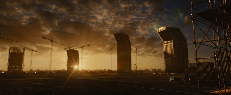 A Filmic Adaption of Ballard's High-Rise Is a Visceral Complement to a Dystopian Vision, The Brutalist high-rises in Ben Wheatley's new film were inspired in part by Ernö Goldfinger's Trellick and Balfron towers in London. Image Courtesy of Magnolia Pictures