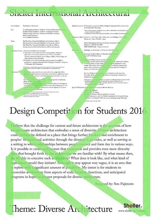 Shelter International Architectural Design Competition for Student 2016, Shelter International Architectural Design Competition for Student 2016