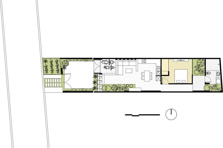 Kontum house khuon studio archdaily for Long narrow house plans