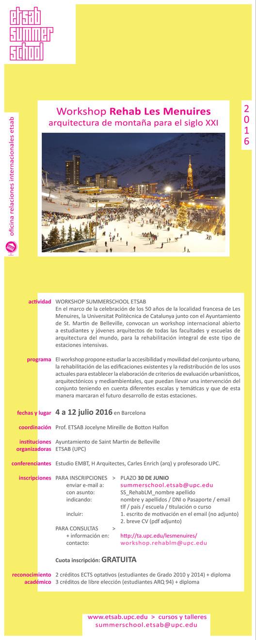 Workshop Internacional 'Les Menuires Rehab. Arquitectura de montaña para el siglo XXI'