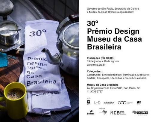Inscrições abertas para o 30º Prêmio Design MCB