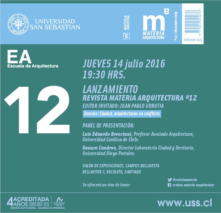 Lanzamiento Revista Materia Arquitectura #12