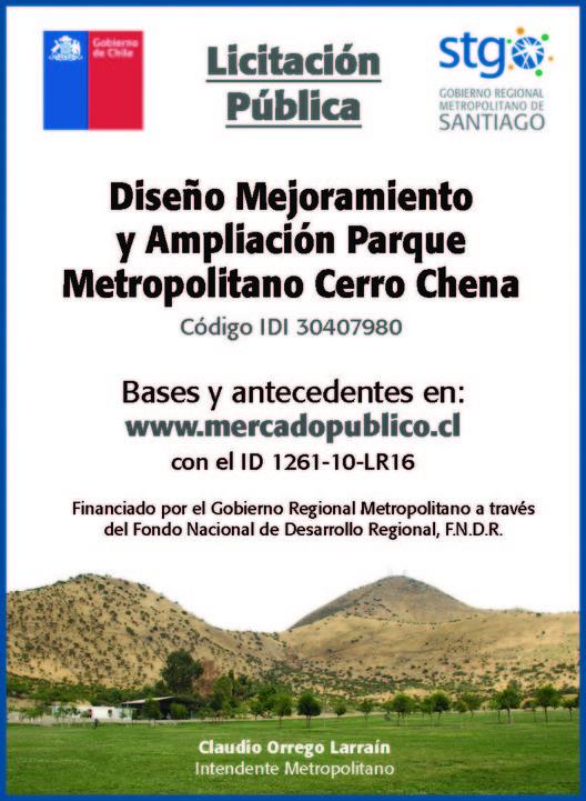 Licitación pública: 'Diseño mejoramiento y ampliación parque metropolitano Cerro Chena', Gobierno Regional Metropolitano