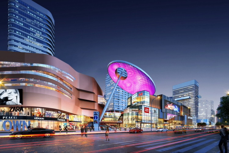 "Colorful New Shopping District ""Joytown"" Under Construction in Changsha, China, Courtesy of AGA"