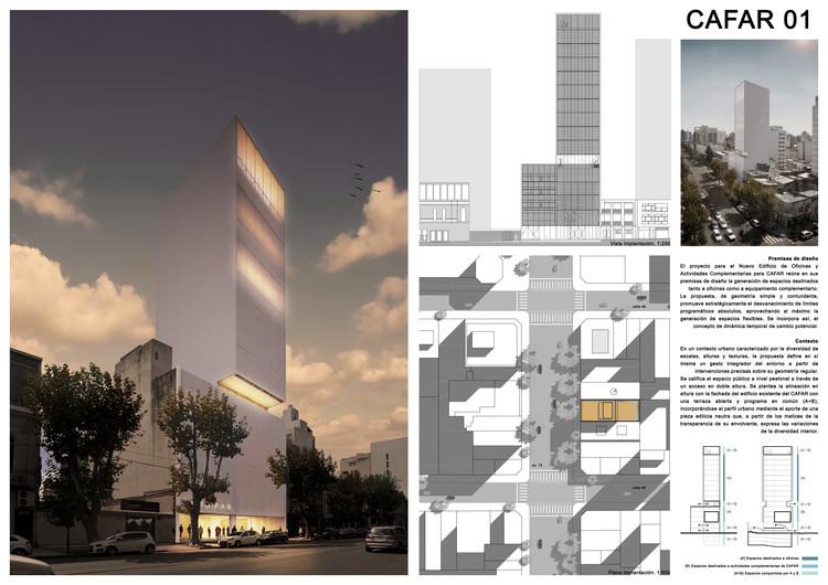 Ballesteros Arquitectos + Estudio Centro Cero + FGM Arquitectos, mención honrosa en concurso CAFAR, Lámina 01. Image Cortesía de Equipo Mención Honrosa