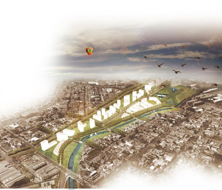 Projeto brasileiro recebe menção honrosa no Concurso ''Pensar la Vivenda, Vivir la Ciudad'', Masterplan - Perspectiva Área. Image Cortesia de Luca De Rossi Fischer