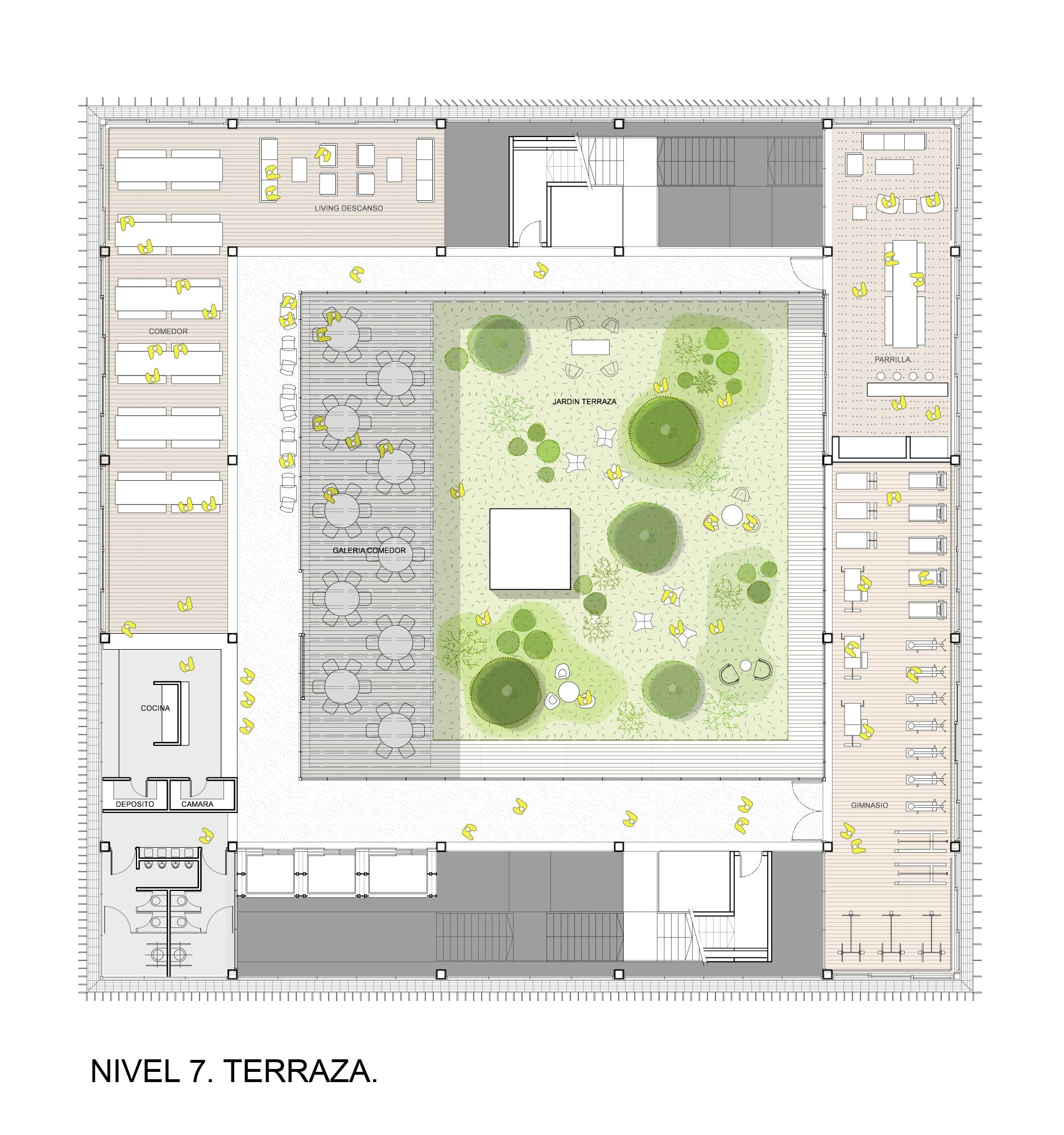 Galer a de primer lugar concurso internacional globant for Plantas de terraza resistentes