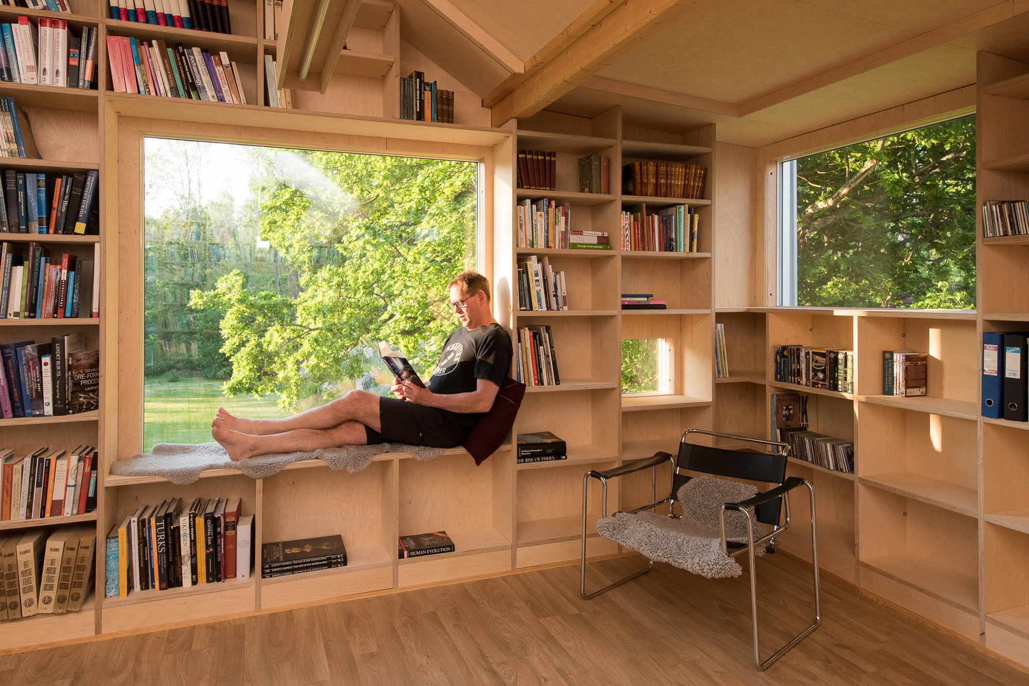Gallery Of Transformation Of An Old Garage Into A Library