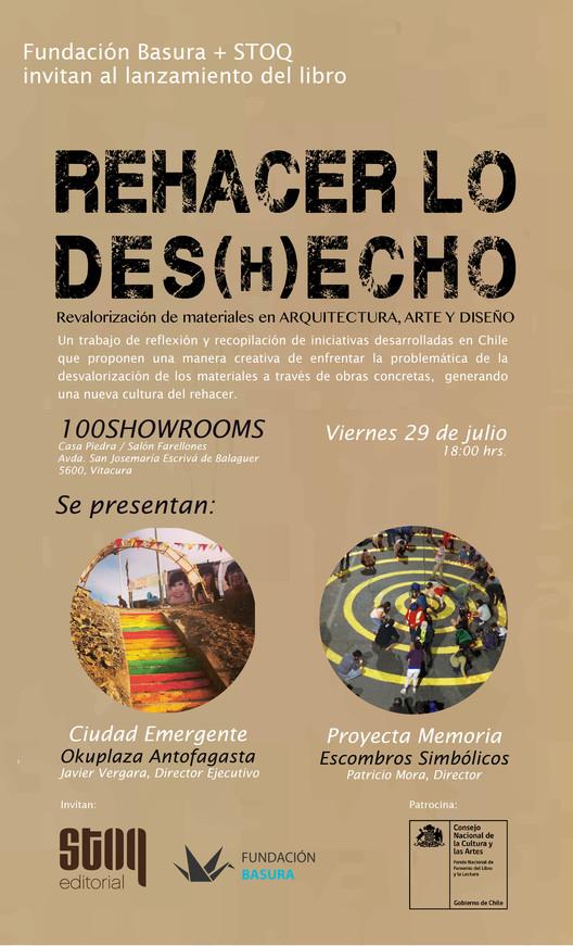 Presentación Libro REHACER LO DES(H)ECHO: Revalorización de Materiales en Arquitectura, Arte y Diseño, Invitación editada por Fundación Basura (ONG).