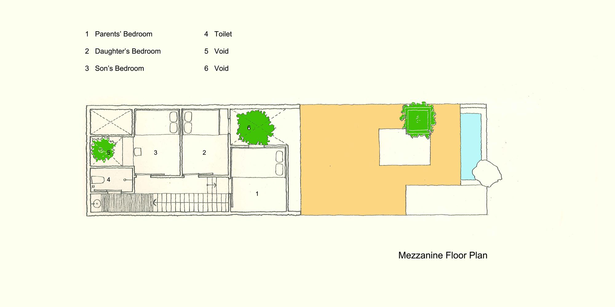 Uncle's House / 3 Atelier. 29 / 30. Mezzanine Floor Plan