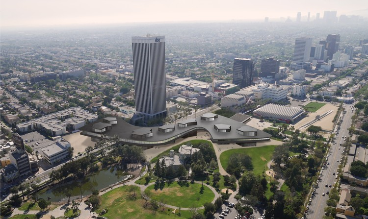 New Renderings Released of Peter Zumthor's LACMA Design, Aerial View. Image Courtesy of LACMA