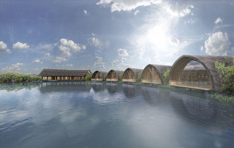 Vo Trong Nghia Architects Design Signature Spa in Vietnam, View from the path. Image Courtesy of Vo Trong Nghia Architects