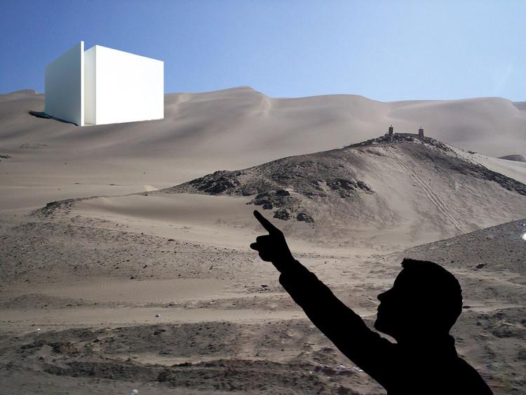 ¿Qué aporta la crítica a la arquitectura? / Crónica del 'I Encuentro de Críticos de Arquitectura Peruana' , Cubo blanco en el medio del desierto. Image - Fotomontaje por Claudia Hiromoto