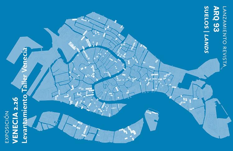 Lanzamiento Revista ARQ 93 y Expo Venecia 2.26 Levantamiento Taller Venecia / Santiago, Diseño afiche por Trinidad Sanchez