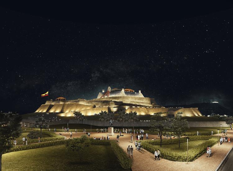Conoce el segundo lugar en el concurso de iluminación del castillo San Felipe de Barajas en Cartagena, Cortesía de Consorcio Arquitectura y Espacio Urbano + Lightcube