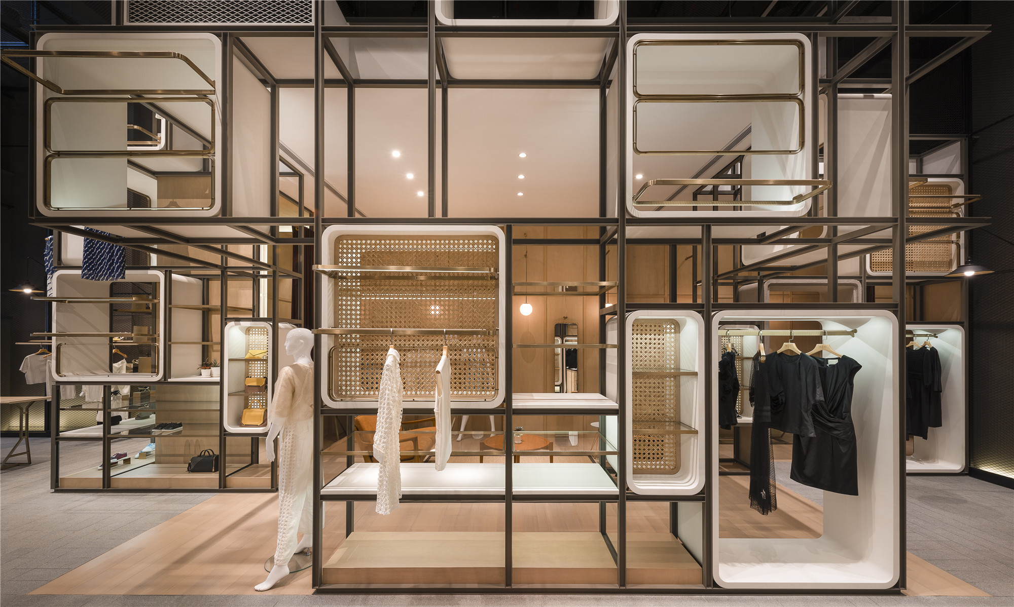 The modular lilong lukstudio archdaily for Fashion retail interior design