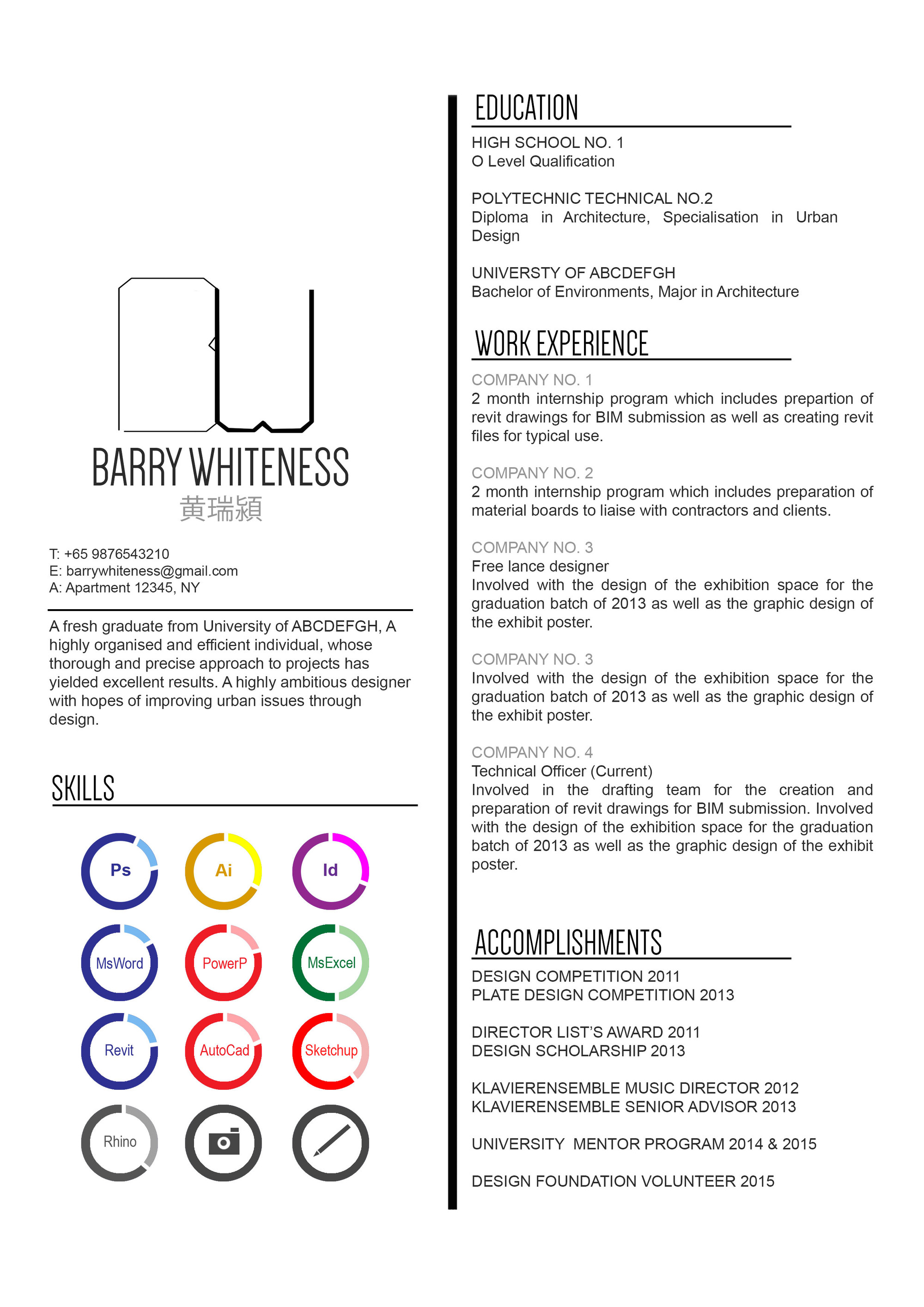 submitted by bernadette - Sample Architect Resume