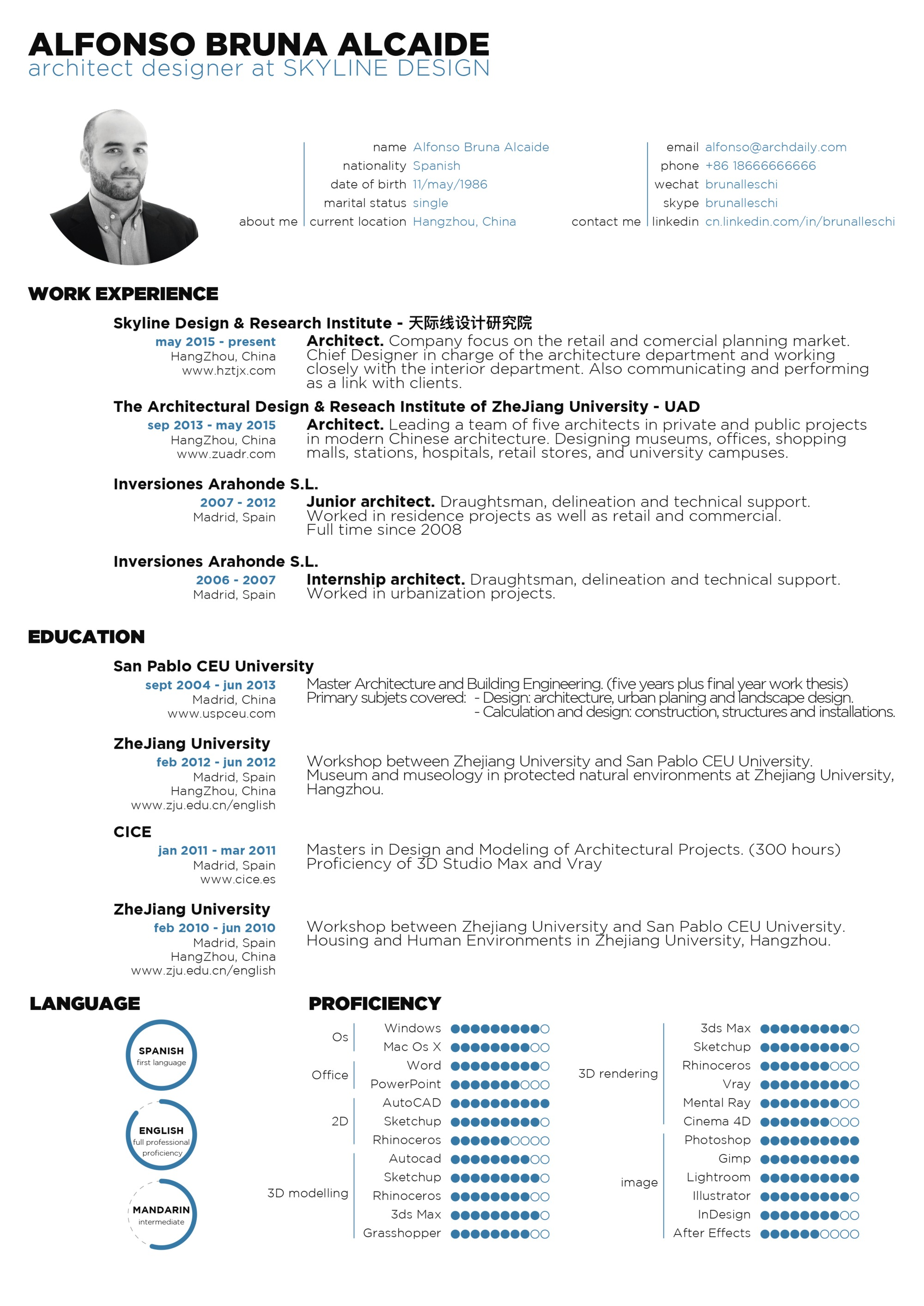 submitted by alfonso bruna - Architect Resume Sample
