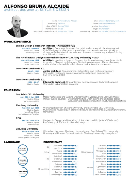 Architect Designs the top architecture résumé/cv designs | archdaily