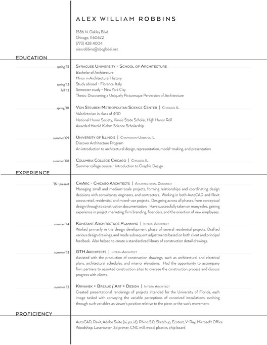 Submitted By Alex William Robbins  Architecture Student Resume