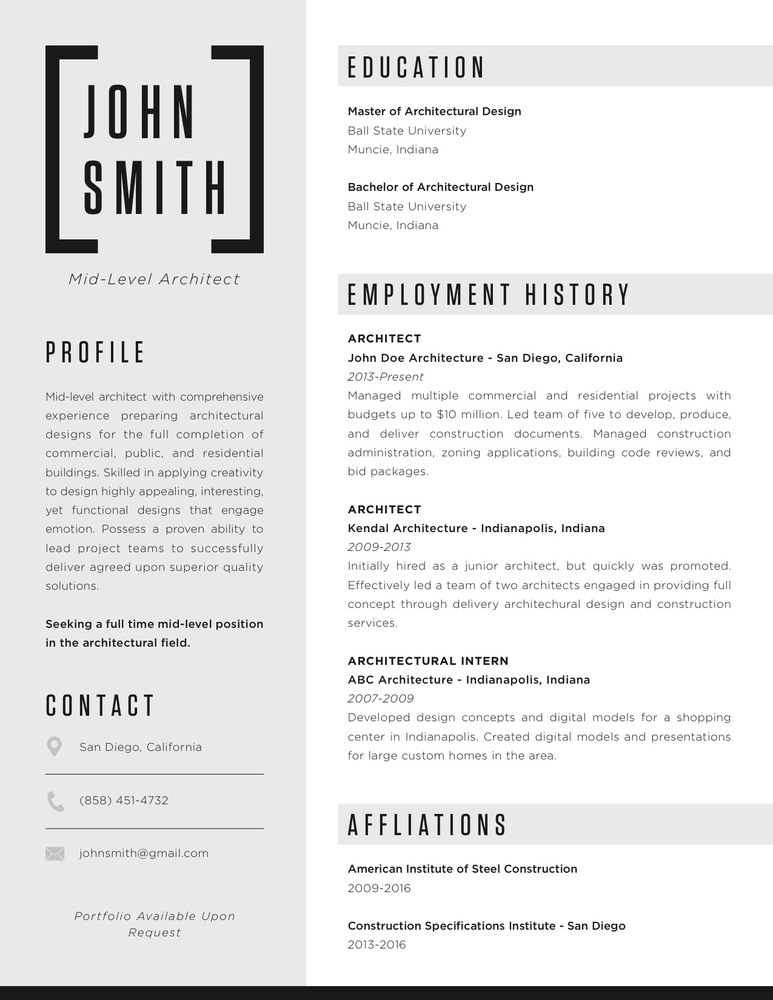 The Top Architecture Résumé/CV Designs,Submitted By Claire McNabb  Resume Cv