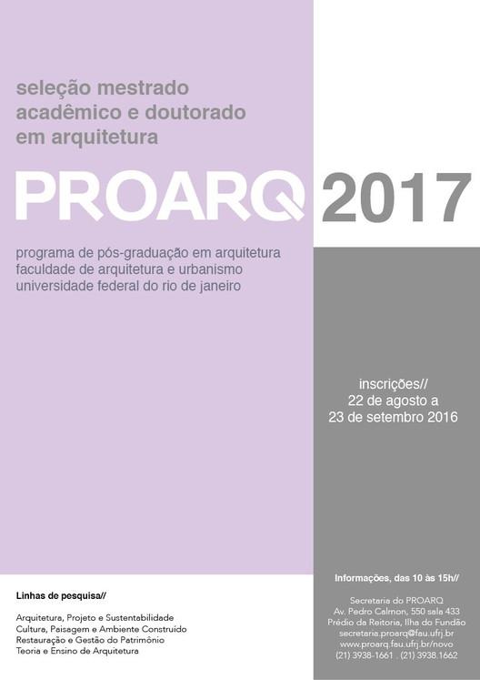 Inscrições abertas para o Programa de Pós-Graduação em Arquitetura da Universidade Federal do Rio de Janeiro