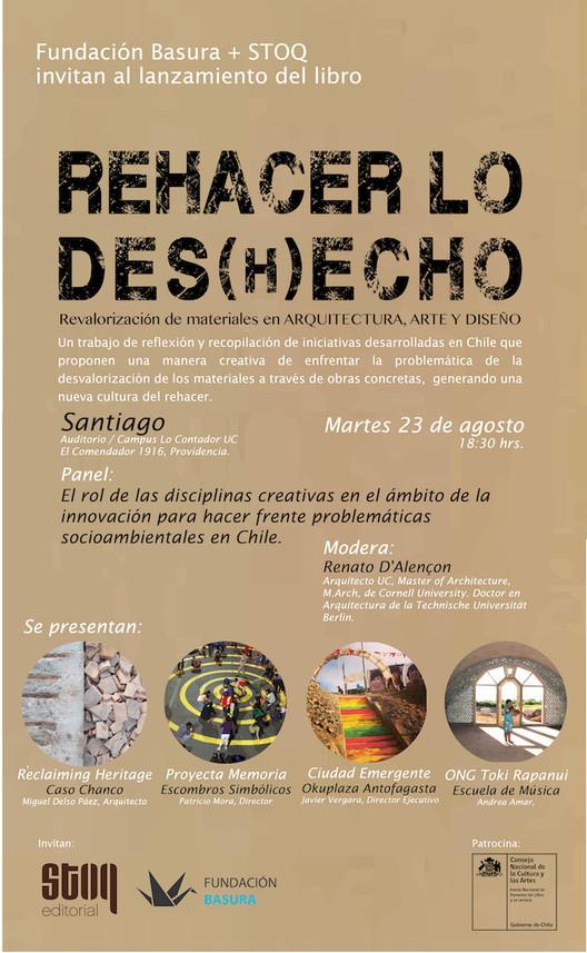 Presentación Libro REHACER LO DES(H)ECHO: Revalorización de Materiales en Arquitectura, Arte y Diseño / Santiago de Chile, Fundación Basura