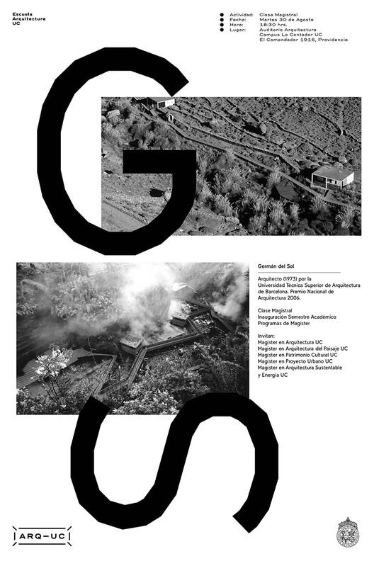 Clase Magistral de Germán del Sol e Inauguración Semestre Académico Programa de Magíster UC / Santiago de Chile, Afiche diseñado por Trinidad Sanchez