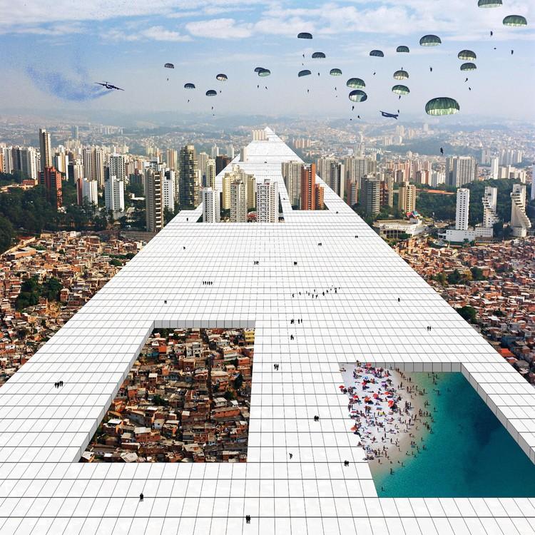 """Arte e Arquitetura: """"Superstudio Revisitado"""" por Nitsche Arquitetos + Jorn Konijn, Fotomontagem © Nitsche Arquitetura"""