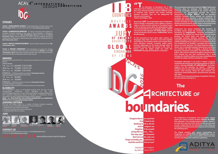 ACA's 4th International Design Competition, ACA's 4th International Design Competition by Aditya College of Architecture