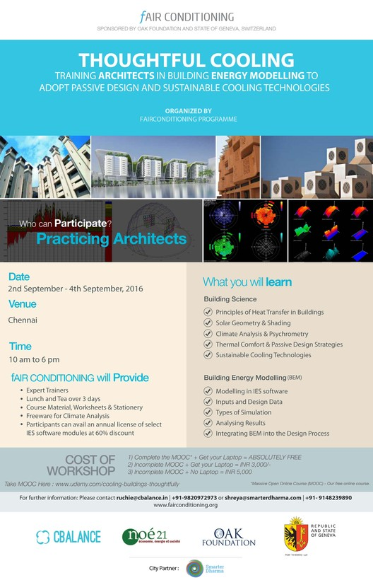 Thoughtful Cooling and Building Energy Modelling Workshop for Architects in Chennai, Thoughtful Cooling workshop Poster