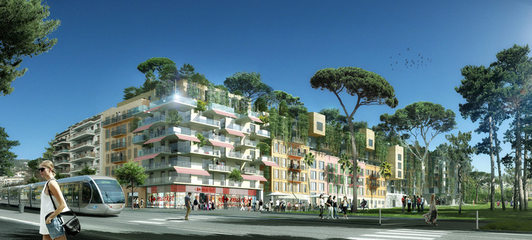 Maison Edouard François Transforms Sports Stadium Into Residential and Commercial Green Space, © LMNB